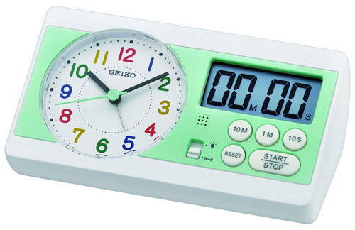Seiko Alarm Clocks Qhe152w With Timer And Stop Function